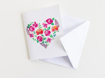 Floral watercolor heart card free download