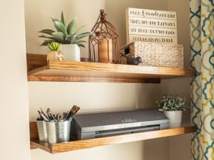 DIY oak wall shelves