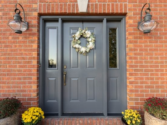 Front door makeover with charcoal paint