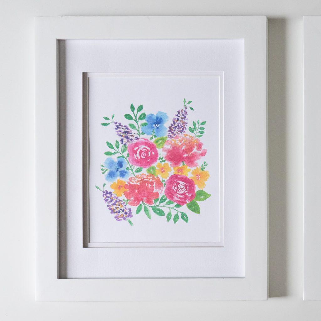 Free nursery printables floral watercolor