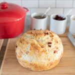 No Knead Dutch Oven Bread with Cranberries Chia Seeds and Almonds
