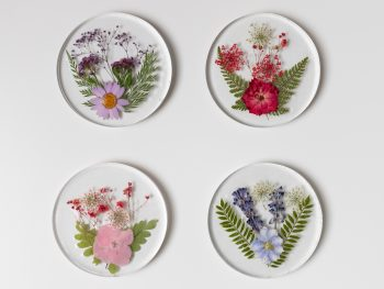 DIY resin coasters with embedded dried pressed flowers