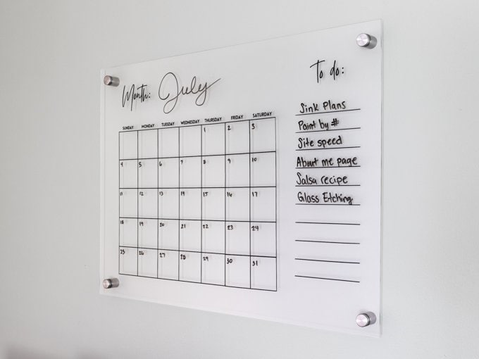 DIY acrylic calendar for wall with free svg file