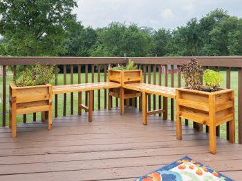 DIY cedar planter bench build plans with removable benches